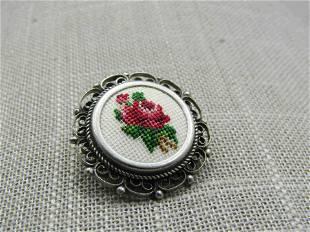 "Vintage Rose Needlepoint Brooch, Scrolled, 1"", 1960's"