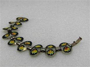 "Vintage Yellow Rose Enameled Bracelet, 7.25"", 1950's"