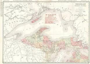 Rand-McNally Indexed Atlas. Michigan Northern