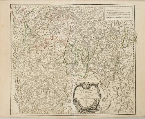 1753 Robert de Vaugondy Map of Central France including