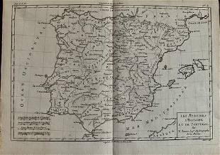 Spain & Portugal by Bonne/ Raynal 1780