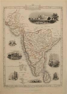 1851 Tallis Map of Southern India and Sri Lanka --