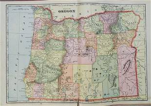 1909 Davis Map of Oregon [verso] Montana and [verso]