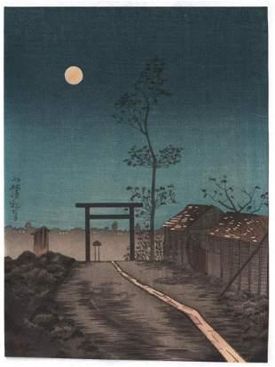 Artist: Kobayashi Kiyochika. Subject: Torii and full