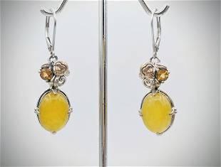 925 SS Monkey Earrings w Yellow Jade & Golden Citrine
