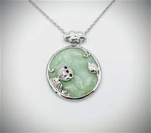 925 SS Necklace & Engraved Jade Pendant w Raw Rubies