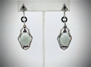 Dangly Jade Cocktail Earrings w Pink Amethyst, CZs &