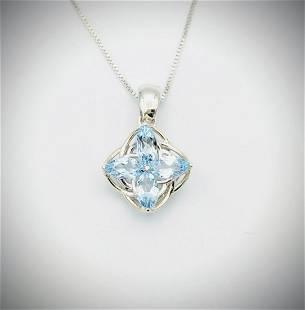 Italian Sterling Silver Necklace w Sky Blue Topaz