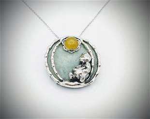Necklace & Bear on the Moon Pendant w Jade & Jadeite