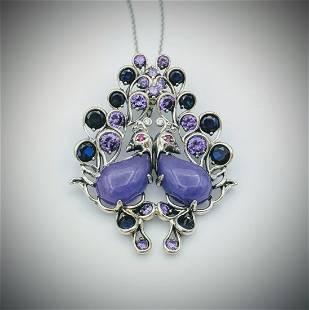 Necklace & Love Birds Pendant w Violet Jade, Blue