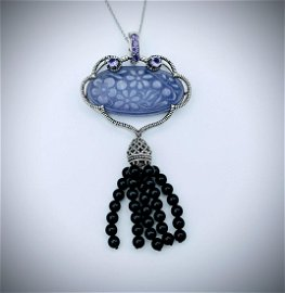 Necklace and Violet Jade Pendant w Black Onyx Beads &