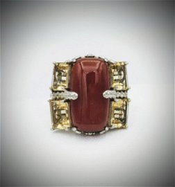 Sterling Silver Sz 7 Carnelian and Citrine Ring