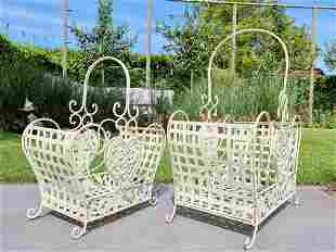 Couple iron baskets - White garden baskets - cottage
