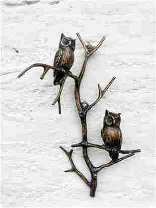 Bronze wall decor - Owls on a twig - Wall sculptures