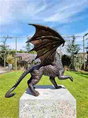 Bronze dragon - Bronze garden art - fantasy art garden