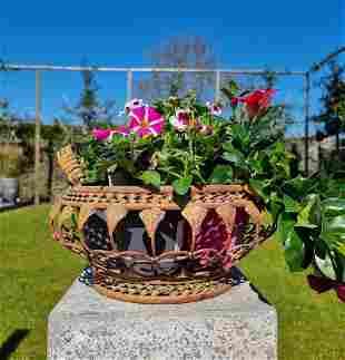 Iron flower basket - cottage garden - medium