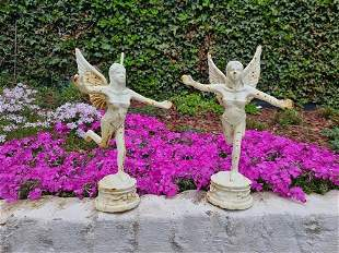 A couple of cast iron angel sculptures - Garden and