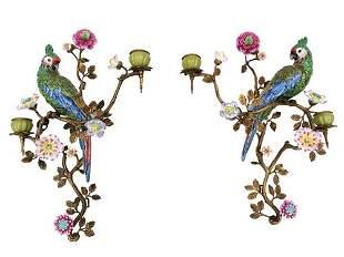 Porcelain wall appliques - A couple of Parrots -