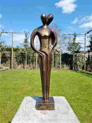 Sculpture - Abstract couple - Patinated bronze