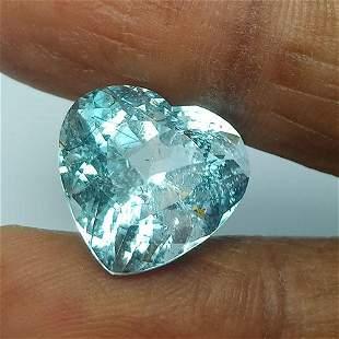 10.15 CTS NATURAL AQUAMARINE HEART SHAPE LIGHT BLUE