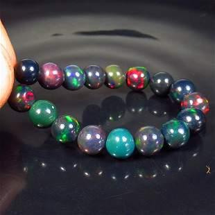 15.29 Ctw Natural 17 Drilled Black Fire Opal Ball Beads