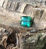 2.5 Carats Emerald Green Tourmaline Cushion Cut
