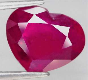 2,61 cts Natural Heart Cut Blood Red Ruby