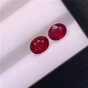 Natural Oval Cut 0.83 Carats Ruby Loose Gemstone 2 pac