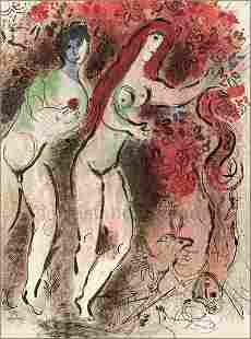 Adam and Eve and the forbidden fruit: Chagall