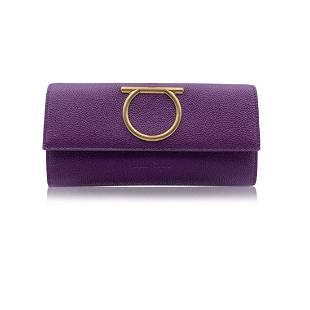 Salvatore Ferragamo Purple Leather Gancino Continental