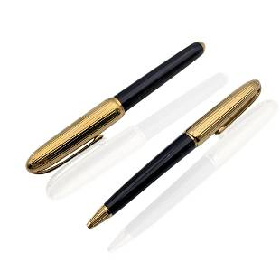Cartier Gold Plated and Black Lacquer Louis Cartier Pen