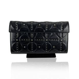Alaia Black Embossed Leather Clutch Bag Handbag with