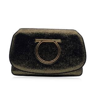 Salvatore Ferragamo Gold Tone Leather Gancino Mint