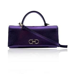 Salvatore Ferragamo Purple Leather The Gancini Mini Bag