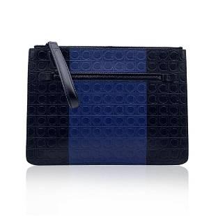 Salvatore Ferragamo Blue Black Gancini Leather Firenze