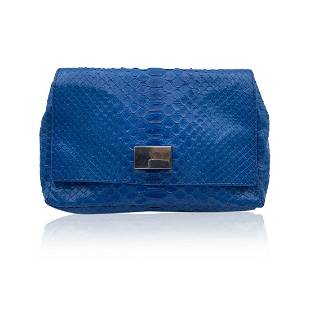 Orciani Blue Leather Small Crossbody Bag with Chain