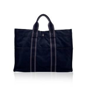 Hermes Paris Vintage Black Gray Cotton Fourre Tout MM