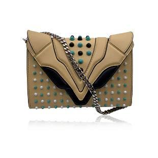 Elena Ghisellini Beige Leather Studded Felina Shoulder