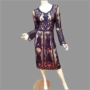 Vtg Embroidered Goth dress Victorian look Tea on Tulle