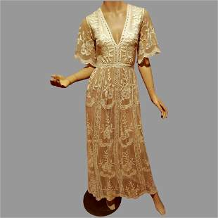 Vtg Empire Maxi dress Embroidered floral Lace on sheer