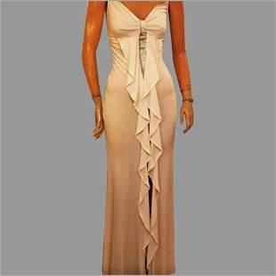 Vtg Orna Farho Paris Gown Flattering fit ruffle &