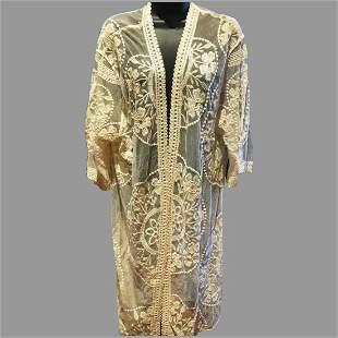 Vtg lace on tulle Kimono Coat over dress /open Detail