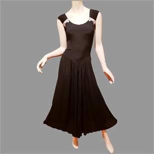 Vtg Jet Black Boho Chic Midi dress silver beaded side