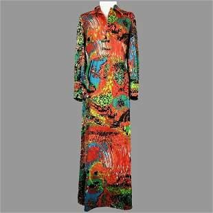 Vtg 1960's JC Penny Fashions Caftan Psychedelic Maxi