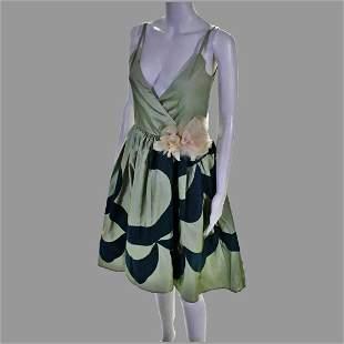 Vtg Sage green Silk A Line dress W/ Rose millinery