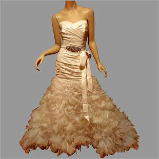 LAZARO Couture Organza Petal Bridal Gown silk Pleated