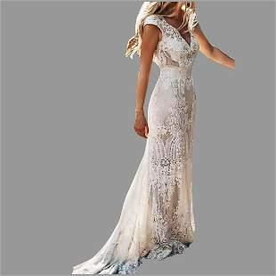 Vtg Lace Maxi Sheath Elegant Party dress Cap sleeves