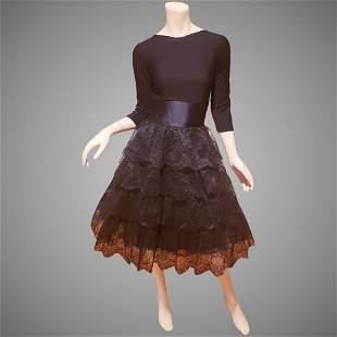 Chantilly laced Ruffled Party dress knit bodice sash