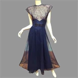 Vtg 1930's Hollywood Glam Chiffon Maxi dress Chantilly