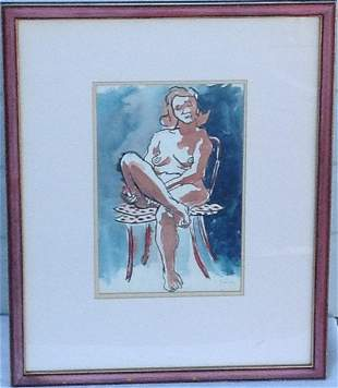 """Arthur Secunda (b. 1927)""""Seated Nude"""" Gouache Painting"""